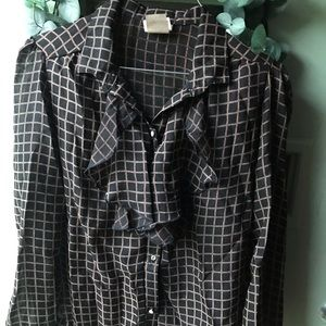 Vintage Window Pane Ruffle Blouse